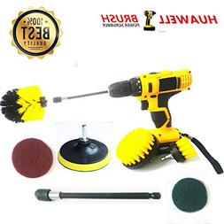 7 Piece Drill Scrub Kit Grout Brush Drill Brush Set with 6 I