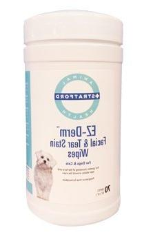 Stratford EZ-Derm Facial & Tear Stain Wipes for Dogs & Cats,