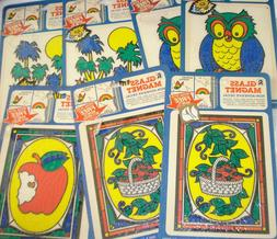 Lot 7 Retro Cards GLASS MAGNET DECAL Owl Apple Stained Glass