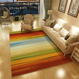 GIY Rainbow Living Room Area Rugs Rectangular Colorful Carpe