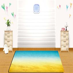 HAIXIA Rugs Yellow and Blue Surf Waves Ocean Beach Exotic Dr